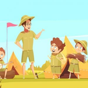 Scouting boys mentor guides outdoor adventures and survival activities in camping retro cartoon poster vector illustration